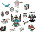 American Indian Art:Jewelry and Silverwork, SIXTEEN ZUNI SILVER AND STONE JEWELRY ITEMS. c. 1960 - 1980...(Total: 16 Items)