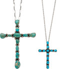American Indian Art:Jewelry and Silverwork, TWO NAVAJO SILVER AND TURQUOISE NECKLACES. c. 1970... (Total: 2Items)