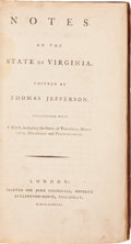 Books:Americana & American History, Thomas Jefferson. Notes on the State of Virginia.Illustrated with a Map, including the States of Virginia, Mary...