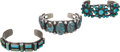 American Indian Art:Jewelry and Silverwork, THREE NAVAJO SILVER AND TURQUOISE BRACELETS. c. 1940 and 1970...(Total: 3 Items)
