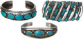American Indian Art:Jewelry and Silverwork, THREE NAVAJO SILVER AND TURQUOISE BRACELETS. c. 1950 - 1970...(Total: 3 Items)