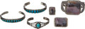American Indian Art:Jewelry and Silverwork, SIX NAVAJO SILVER AND STONE JEWELRY ITEMS. c. 1940 - 1950...(Total: 6 Items)