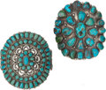 American Indian Art:Jewelry and Silverwork, TWO SOUTHWEST SILVER AND TURQUOISE BRACELETS. c. 1950... (Total: 2Items)