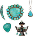 American Indian Art:Jewelry and Silverwork, FIVE SOUTHWEST SILVER AND TURQUOISE JEWELRY ITEMS. c. 1940 -1960... (Total: 5 Items)