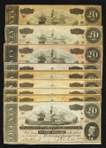 Confederate Notes:1864 Issues, T67 $20 1864 Nine Examples.. ... (Total: 9 notes)