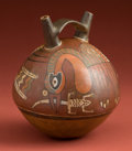 American Indian Art:Pottery, Nazca Globular Bottle with Bird Deity Eating Lizard...