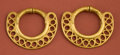 American Indian Art:Pottery, Pair of Sinu Gold Earrings with Openwork...