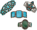 American Indian Art:Jewelry and Silverwork, FOUR SOUTHWEST SILVER AND TURQUOISE BRACELETS. c. 1940. ... (Total:4 Items)