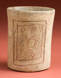 American Indian Art:Pottery, Maya Carved Cup with God K...