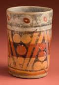 American Indian Art:Pottery, Resist Painted Polychrome Maya Cup...