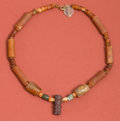 Antiques:Antiquities, Tairona Carnelian Tube Bead Necklace with Man...