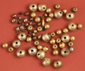 American Indian Art:Pottery, Lot of Chimu Gold Ball Beads and Modern Earrings...