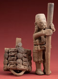 Pre-Columbian:Ceramics, Rare, Finely-modeled Veracruz Figure with Massive RemovableHeaddress...