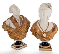 PAIR OF BISQUE, PORCELAIN AND GILT PORTRAIT BUSTS OF LOUIS XVI AND MARIE ANTOINETTE ON SOCLE BASES Marks: (pseudo