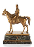 Bronze:European, AFTER LOUIS MARIE MORIS (FRENCH 1818-1883) GILT BRONZE FIGURE OFNAPOLEON ON HORSEBACK MOUNTED ON A VERDE GREEN MARBLE PLINTH ...