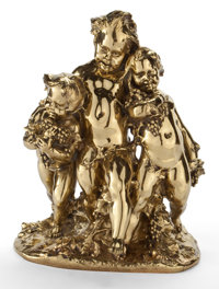 AFTER JEAN MICH (FRENCH 1971-1919) GILT BRONZE FIGURAL GROUP OF THREE PUTTI France, 20th century Marks: Jea