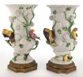 Ceramics & Porcelain, PAIR OF CONTINENTAL PORCELAIN SCHNEEBALLEN VASES ENCRUSTED WITH BIRDS AND FLOWERS . Late 19th century . 22 inches high (55.9... (Total: 2 Items)