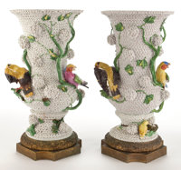 PAIR OF CONTINENTAL PORCELAIN SCHNEEBALLEN VASES ENCRUSTED WITH BIRDS AND FLOWERS Late 19th century 22 inches