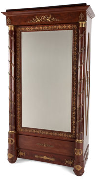 FRENCH EMPIRE STYLE GILT BRONZE MOUNTED MAHOGANY MIRRORED ARMOIRE WITH FLORAL GILT BRONZE DECORATION France,19th