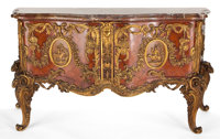 LOUIS XV STYLE GILT BRONZE MOUNTED MAHOGANY COMMODE WITH MARBLE TOP, AFTER THE MODEL BY ANTOINE GAUDRAUX 36 x 67-