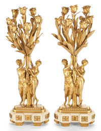 PAIR OF GILT BRONZE FIGURAL SEVEN-LIGHT CANDELABRA ON MARBLE BASES France, circa 1900 27-1/2 inches high (69.9