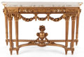 Furniture , LOUIS XV STYLE GILT WOOD CONSOLE TABLE WITH MARBLE TOP . France, circa 1900. 35-1/2 x 61 x 21 inches (90.2 x 154.9 x 53.3 cm...