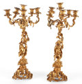 Lighting:Candelabra, PAIR OF FRENCH GILT BRONZE FIGURAL SIX-LIGHT CANDELABRA . Circa1900. 26 inches high (66.0 cm) (each) . ... (Total: 2 Items)
