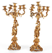 PAIR OF FRENCH GILT BRONZE FIGURAL SIX-LIGHT CANDELABRA Circa1900 26 inches high (66.0 cm) (each)