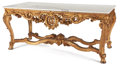 Furniture , LOUIS XV STYLE GILT WOOD CENTER TABLE WITH MARBLE TOP . 20th century . 32 x 75 x 36 inches (81.3 x 190.5 x 91.4 cm). ...