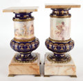 Ceramics & Porcelain, TWO SEVRES STYLE GILT COBALT BLUE PEDESTALS WITH GILT BRONZE MOUNTS, MARBLE PLINTH AND CAP, SIGNED HARANT AND ... (Total: 2 Items)
