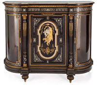 PAIR OF NAPOLEON III STYLE EBONIZED MAHOGANY AND IVORY INLAID GILT BRONZE MOUNTED AND GLAZED DOOR CABINETS WITH MARBLE T...