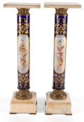 Furniture : French, A PAIR OF LOUIS XVI STYLE PORCELAIN, GILT METAL AND MARBLEPEDESTALS . Circa 1900. 39 x 11-7/8 x 11-3/4 inches (99.1 x 30.1...(Total: 2 Items)