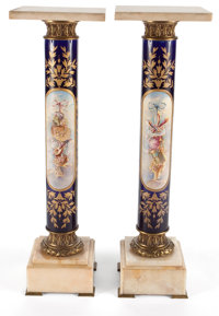 PAIR OF LOUIS XVI STYLE PORCELAIN, GILT METAL AND MARBLE PEDESTALS 39 x 11-7/8 x 11-3/4 inches (99.1 x 30.1 x 29