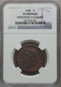 1808 1C --Improperly Cleaned--NGC Details. VG NGC Census: (7/56). PCGS Population (4/112). Mintage: 1,007,000. Numismedi...