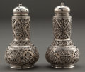 Silver Holloware, American:Other , A PAIR OF WHITING SILVER PEPPER SHAKERS IN THE ARABESQUE PATTERN .Whiting Manufacturing Company, New York, New York, circa ...(Total: 2 Items)