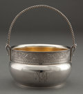 Silver Holloware, American:Baskets, A WOOD & HUGHES SILVER AND SILVER GILT SUGAR BASKET . Wood& Hughes, New York, New York, circa 1900 . Marks: W&H,STERLING...