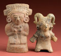 American Indian Art:Pottery, Two Lowland Maya Molded Women... (Total: 2 Items)