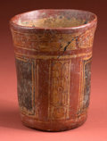 American Indian Art:Pottery, Polychrome Maya Vase with Pseudo-glyphs...