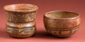 American Indian Art:Pottery, Two Maya Polychrome Jars with Pseudo Glyphs... (Total: 2 Items)
