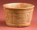 American Indian Art:Pottery, Maya Molded Orangeware Cup with Chacs...