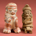 American Indian Art:Pottery, Mini Maya Old Man and Guanacaste Monkey... (Total: 2 Items)