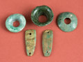 American Indian Art:Pottery, Three Maya Ornaments including Three Earflares and Two Plaques...(Total: 5 Items)