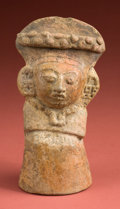 American Indian Art:Pottery, Molded Maya Seated Female...