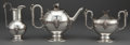 Silver Holloware, American:Tea Sets, A GORHAM THREE-PIECE COIN SILVER TEA SET . Gorham ManufacturingCo., Providence, Rhode Island, circa 1864. Marks: (lion-anch...(Total: 3 Items)
