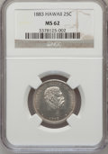 Coins of Hawaii: , 1883 25C Hawaii Quarter MS62 NGC. NGC Census: (123/610). PCGSPopulation (172/841). Mintage: 500,000. (#10987)...