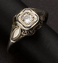 Estate Jewelry:Rings, Antique Gold & Diamond Filigree Ring. ...