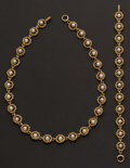 Estate Jewelry:Pearls, Pearl & Gold Necklace & Bracelet. ... (Total: 2 Items)