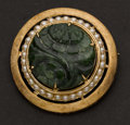 Estate Jewelry:Brooches - Pins, Unusual Jade, Pearl & Gold Pin. ...