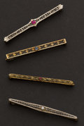 Estate Jewelry:Brooches - Pins, Four Antique Gold Pins. ... (Total: 4 Items)
