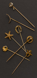 Estate Jewelry:Stick Pins and Hat Pins, Seven Estate Gold Stick Pins. ... (Total: 7 Items)